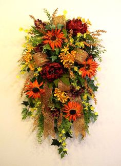Fall Door Swag - Deep Red, Orange, Gold and Yellow By: www.sugarcreekhd.com