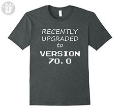Mens Recently Upgraded To Version 70.0 T-Shirt Funny 70 Birthday Large Dark Heather - Birthday shirts (*Amazon Partner-Link)