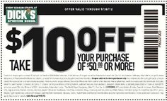Dicks Sporting Goods: $10 off $50 Printable Coupon