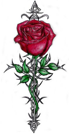 cross and rose tattoo-design