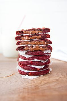 Nutella Stuffed Red Velvet Cookies: A perfect holiday cookie to give to friends and family... if you don't eat them all first! | via Broma Bakery