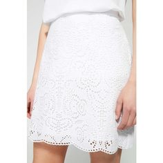 Witchery Cutwork Skirt (100 AUD) ❤ liked on Polyvore featuring skirts, mini skirts, lined skirt, summer mini skirts, white cotton skirt and textured skirt