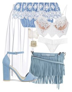 """""""Blue fringe👼🏼"""" by varrica ❤ liked on Polyvore featuring Rosie Assoulin, Miguelina, Aurélie Bidermann, Buccellati, For Love & Lemons, Hanky Panky, Rebecca Minkoff and Nly Shoes"""