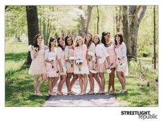 LOVE these coordinating bridesmaid dresses. So cute! (Photo by Streetlight Republic- http://streetlightrepublicblog.com)
