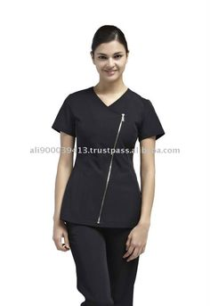 Uniform for spa and beauty salons Staff Uniforms, Medical Uniforms, Work Uniforms, Salon Uniform, Spa Uniform, Uniform Ideas, Scrubs Outfit, Blouse Styles, Work Wear