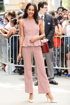Who: Laura Harrier When: June 26, 2017  Wearing: Brock Collection, Staud bag  Why: Laura Harrier has her finger on fashion's pulse, because she is wearing everything we want right now. From her gingham set down to her affordable it-bag (beloved by ELLE staffers), we have a feeling this Spider-Man: Homecoming star is a style maven on the rise.