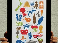 "Matted Print-POP Range-""Kiwiana Alphabets"" by DUDO Nz Art, Kiwiana, Xmas Presents, Easy Paintings, Art For Kids, Party Themes, Alphabet, Art Gallery, Card Making"