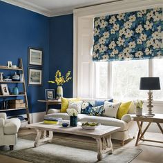 Most Popular blue living room meaning for 2019 Blue And Yellow Living Room, Blue Rooms, Living Room Grey, Blue Walls, Living Room Decor, Paint Colors For Living Room, Room Colors, Living Room Designs, Palette