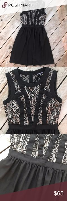 """Gianni Bini Black Lace A-Line Midi Dress - Size 0 Perfect dress for a Christmas or holiday party, as a bridesmaid dress, or even for a party with friends. Nude lining sewn into bodice.   Size 0, dress is 34 1/2"""" long. Waist is 12 1/2"""" across, armpit-to-armpit is 16"""". Shoulder to top of waistband is 13"""". Backside zips down to the waist and has a clasp at the top. In excellent condition. Gianni Bini Dresses Midi"""