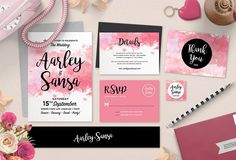 Watercolor Wedding Invitation Set by Aarley Kaiven on @creativemarket