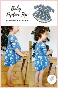 Baby Peplum Top sewing pattern (Newborn-6yrs). This dressy top has an asymmetric trendy fit with its long-back part. The front covers the belly while the back covers the hips. You can choose between long, short, and half sleeves to fit any season. The pattern has been designed to use knit fabrics and is great for a confident beginner sewer.