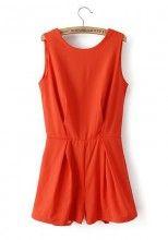 Nacarat Plain 2-in-1 Round Neck Sleeveless Chiffon Dress