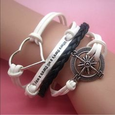 INFINITY BRACELET Leather w charms as shown. Adj from 7 to 9 inches. No trades Jewelry Bracelets