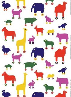 The charming Rulla print depicts an assortment of colorful animal toys on wheels. The cotton fabric is durable and adds bright cheer to a baby or child's room. Rulla makes wonderful curtains, crib bedding and wal Marimekko Wallpaper, Marimekko Fabric, Textile Design, Fabric Design, Pattern Design, Wallpaper Panels, Wallpaper Murals, Colorful Animals, Quilt Sizes