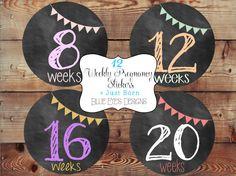 Pregnancy Stickers,Weekly Pregnancy Stickers,Chalkboard Pregnancy Stickers,Pregnancy Announcement,Pregnancy Reveal,Baby Bump Sticker,New Mom by blueeyesdesigns27 on Etsy https://www.etsy.com/listing/191106482/pregnancy-stickersweekly-pregnancy