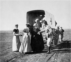 """Sister Pretty Departing"", [Boer War nurse boarding a horse-drawn RAMC supply wagon] via the Wellcome Collection, Arch. Safari, Nurse Art, English Architecture, Wellcome Collection, Vintage Nurse, Historical Images, My Heritage, African History, South Africa"