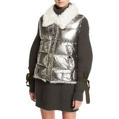 Moncler Kerria Metallic Fur-Collar Puffer Vest ($1,750) ❤ liked on Polyvore featuring outerwear, vests, women's apparel vests, puffy vests, fur trim vest, moncler vest, vest waistcoat and metallic vest