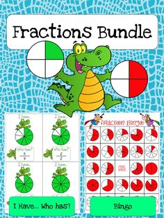 Fractions Game Bundle featuring Fractions Bingo and Fractions I Have...Who has? Games to help students learn fractions in a fun way!