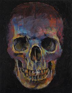 Image result for skull oil painting