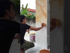 This is a step by step stills and a video of the veining process for faux painted Paonazetto marble columns - by Marc Potocsky- MJP Studios, Branford, CT. Faux Painting Walls, Marble Painting, Marble Art, Painting Edges, Acrylic Painting Canvas, House Painting, Paint Walls, Marble Effect Paint, Faux Painting Techniques