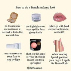 beauty aesthetic makeup How to get a natural french look Beauty Make-up, Beauty Care, Beauty Skin, Beauty Hacks, Makeup Goals, Makeup Inspo, Makeup Inspiration, Makeup Ideas, Easy Makeup