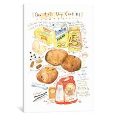 Cookies Recipe by Lucile Prache Textual Art on Wrapped Canvas