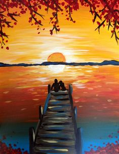 "A warm sunset and a happy couple enjoying ""Dusk On The Docks"". Join us at Pinot's Palette Montrose for of a night of painting and wine fun!"
