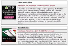 """Online gambling sites reviewed; play now casinos, poker rooms, bingo halls  and casino sportsbooks."""