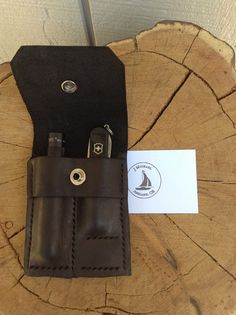 Gift idea for him:  EDC mini maglite & swiss army knife, in custom MXS  molded leather case