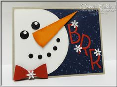 I made this Snowman Frame and matching card for the Creative Blog Hop! Happy winter, punch art, Stampin' Up!, #stampinup, Connie Babbert, www.inkspiredtreasures.com