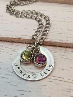 Custom, Hand Stamped Mother's Necklace - Washer