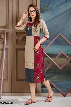 Beige-Simple-Casual-Wear-Printed-Quater-Sleeves-Knee-Length-Kurti-1004-28125 Catalog No : 5751 WWW.LKFABKART.COM #wholesalekurtis #wholesalekurtisupplier #kurtisdealers #kurtiexporters #kurtimanufacturer #kurtistockist #simple #dailywear #officewear #kurti #factoryrates #worldwide #lkfabkart Printed Kurti Designs, Salwar Designs, Saree Blouse Designs, Kurti Sleeves Design, Kurta Neck Design, Edwardian Dress, Frock Design, Dresses Kids Girl, Indian Designer Wear