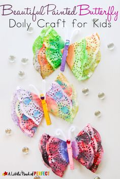Crafty kids will love making this beautiful painted butterfly craft. Grab some doilies and watercolors for this easy craft your kids will love making! This spring craft idea is perfect for a unit learning about bugs, or as a special gift to give mom on Mother's Day! #craftsforkids #kids #kidsactivities #spring #butterfly #preschool #kindergarten #learning
