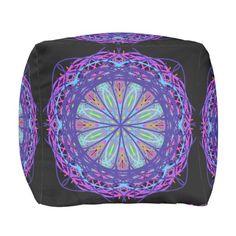 Cotton Cubed Pouf, Kaleidoscope Purple Black