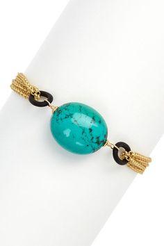 Turquoise, Black & Gold Chain Bracelet on HauteLook