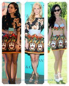 Un conjunto de Dolce & Gabbana primavera 2013 lo llevo primero Fan Bingbing a la premiere de One Night Surprise; después se lo vimos a Poppy Delevingne en una fiesta de Tiffanys; con solo la falda vimos a Kate Perry en una pool party.