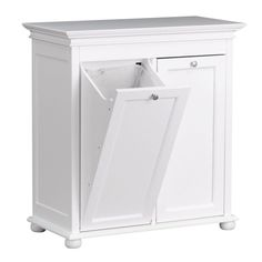 Home Decorators Collection Hampton Bay 35 in. W Tilt-out Hamper Double in White-2601320410 - The Home Depot