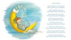 'Hush Little Baby' nursery rhyme. Baby sleeping on Moon illustration  Watercolour on card