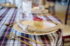Floor Length Manchester Plaid red, tan & white table cloth paired with our Stone Linnea Napkins. Image by Michelle Walker Photography