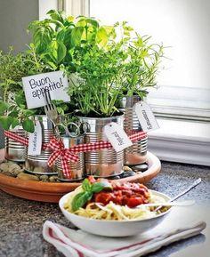 Kitchen countertop herb garden.