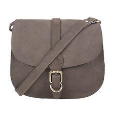 Buy John Lewis Ashley Across Body Leather Saddle Bag, Ash Grey Online at johnlewis.com
