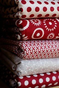 red and white fabrics