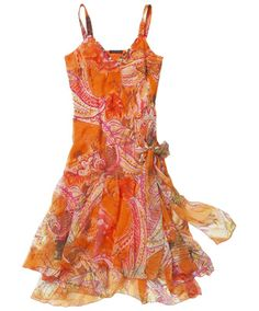 South American Dress  A dazzling flame of a dress. In light, floaty georgette fabric with plenty of beading detail and more latin passion than you could shake a maraca at. Just enjoy it!  100% Polyester (Lined)  Approx Length: 110cm  £49.95