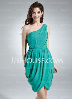 Cocktail Dresses - $126.29 - Sheath One-Shoulder Knee-Length Chiffon Cocktail Dress With Ruffle (022016013) http://jjshouse.com/Sheath-One-Shoulder-Knee-Length-Chiffon-Cocktail-Dress-With-Ruffle-022016013-g16013 colour - hunter green
