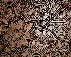 Batik Cap (pronounced 'tjap' = copper stamped wax resist), Java, Indonesia.