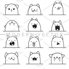 Set 12 doodle emotions cats Graphics Set of 12 different doodle emotions cat. Emotions for design. Anger and jo by Modern vector Kawaii Drawings, Cartoon Drawings, Easy Drawings, Kawaii Doodles, Cute Doodles, Doodle Art Drawing, Painting & Drawing, Drawing Sketches, Doodle Characters