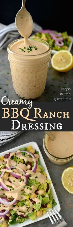 Vegan BBQ Ranch Dressing –A creamy dreamy dressing worth slathering on everything from salads to tacos & burritos! This healthy dressing is vegan, oil-free and gluten-free! It also has a nut-free option to make it allergy friendly. Vegan Sauces, Vegan Foods, Vegan Dishes, Vegan Vegetarian, Raw Food Recipes, Cooking Recipes, Healthy Recipes, Healthy Fit, Protein Recipes