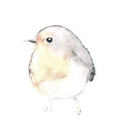 Watercolor Sparrow, Spatz, Aquarell, Dawanda, Illustration