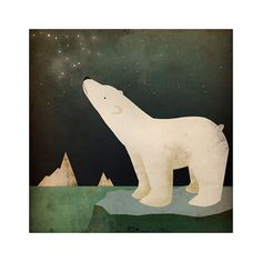 Earth Day CONSTELLATIONS Polar Bear ILLUSTRATION giclee print 15.5x15.5 inches SIGNED
