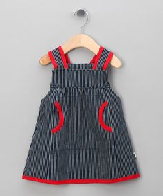 Take a look at this Navy & Red Stripe Denim Dress - Infant, Toddler & Girls by Urban Elk on #zulily today!